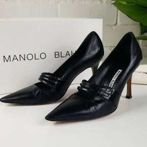 Manolo Blahnik Spartaca Leather Mary Jane Pumps